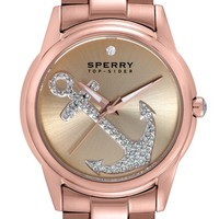 Women's Sperry 'Audrey' Pave Anchor Bracelet Watch, 38mm