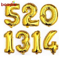 32 inches Gold&Silver Numbers Foil Balloons Digit Birthday Party Wedding Decor Helium Air Baloons For Celebrate Event Supplies