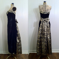 Retro 80s Gold and Black Velvet Gown with Back Bustle by SLVintage