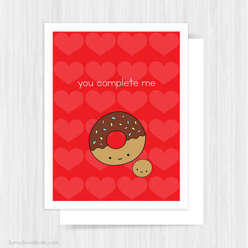 Valentine Card For Girlfriend Boyfriend Wife Husband Valentines Day Funny Donut Love Pun Fun Handmade Greeting Cards Gifts Gift Idea Her Him