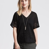 Banana Republic Womens Embroidered Back Top