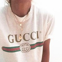 GUCCI Fashion Sexy Print Short Sleeve Tunic Shirt Top Blouse White