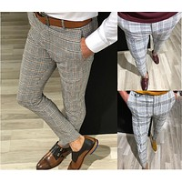 2020 new men's casual plaid solid color cropped pants