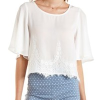 Ivory Lace-Trim Flutter Sleeve Top by Charlotte Russe