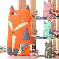 2016 Newest Fashion Lovely 3D Cute Cartoon Animal Fox  Soft Silicone Rubber Back Cover Case for iPhone 6 6S 5 5S 5C C 4 4S