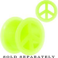 "9/16"" Neon Yellow Silicone Peace Sign Tunnel 
