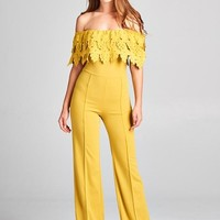 Crochet Lace Off Shoulder Wide Leg Jumpsuit - Mustard Yellow