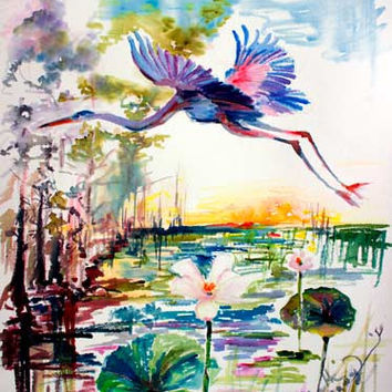 Blue Heron Over Lotus Pond Watercolor Painting