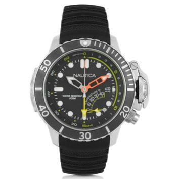 Nautica Designer Men's Watches NMX Silver Tone Stainless Steel Case and Black Rubber Strap Men's Dive Watch