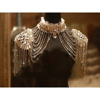 Bridal Chain Tassel Shoulder Beads Lace Crystal Jewelry Steampunk Cosplay