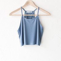 Crop Tank Top - Dusty Blue