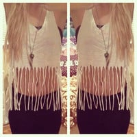 Dip Dyed Ombre Fringe Tank Top Sz. Small