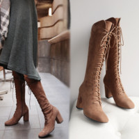 Fashion Over the Knee High Martin Women Lace Up Type Boots Thigh High Knight Bootie Shoes Khaki