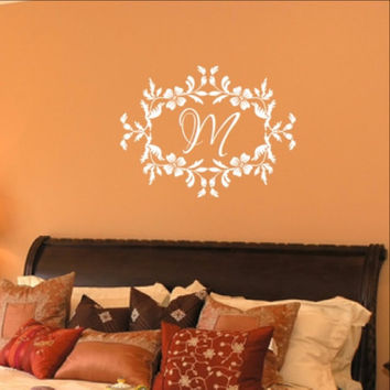 Floral Frame With Script Monogram Vinyl Wall Decal 22534