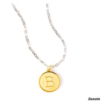 Gold Plated Initial Pendant on Silver Cable Chain   Zazzle