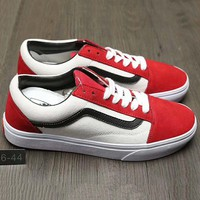 Vans Trending Casual Canvas Old Skool Flats Sneakers Sport Shoes White+Red G-A0-HXYDXPF