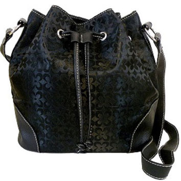 Fashion Black Drawstring Bag with Magnetic Closure