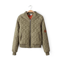 Patch Long-Sleeve Zippered Winter Jacket With Pocket