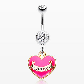 Silver Juicy Heart Belly Button Ring