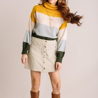Jane Colorblock Turtleneck Sweater