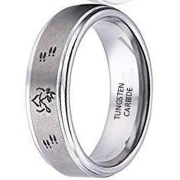 8mm Deer Ring Her Buck His Doe Ring Tungsten Ring Weding Bands (Platinum)