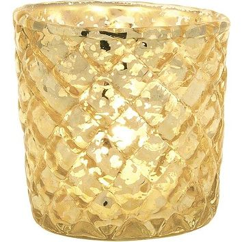 Vintage Mercury Glass Candle Holder (2.5-Inch, Small Andrea Design, Gold) - For Use with Tea Lights - For Home Decor, Parties, and Wedding Decorations