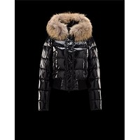 Moncler Alpin Detachable Fur Trimmed Collar Black Jackets Nylon/Polyamid Womens 412364