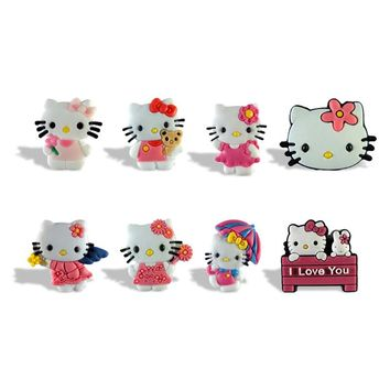 New Arrival 8pcs/set PVC Magnetic Hello Kitty Cartoon Fridge Blackboard Magnets Stickers For Office Supplies Kids Favors Gift