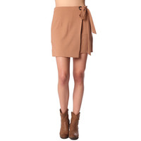 Camel wrap mini skirt with tie side detail