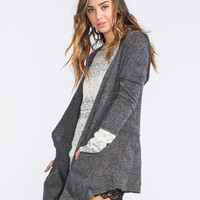 H.I.P. Womens Hooded Wrap Sweater Charcoal  In Sizes