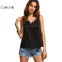 COLROVIE Sexy Cami Tops Women Black V Neck Lace Trim Sleeveless Summer Top Brief Vest 2017 New Fashion Casual Camisole