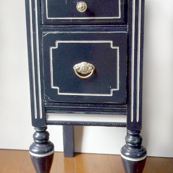 Side Table - Bedside Table - Blue Accent Table - Cottage Chic Accent Table - Refinished Furniture - Blue Night Stand - Up-cycled Side Table