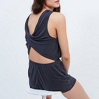 Silence + Noise Too Twisted Playsuit in Dark Grey - Urban Outfitters