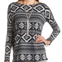 Long Sleeve Tribal Print Top by Charlotte Russe - Black Combo