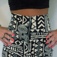 Black Top& High Waist Print Short Two Piece