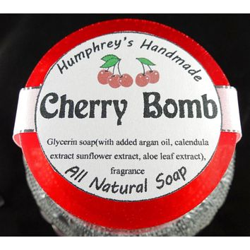 CHERRY BOMB Soap | Black Cherry Almond Scent |Women's Shave Soap | Body Soap