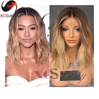 Ombre Brown/27 Honey Blonde Full Lace Human Hair Bob Wig Front Lace Wigs Blonde Human Brazilian Full Lace Human Hair Wigs Blonde