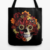 Full circle...Floral ohm skull Tote Bag by Kristy Patterson Design