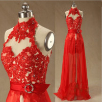 Beading Appliques Halter Lace Prom Dress-High Neck Red Removable Homecoming Dress