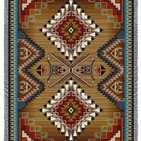 Southwest Sampler Cornflower and Red Tapestry Throw