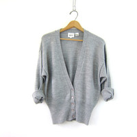 20% OFF SALE Vintage gray button up cardigan. Cozy sweater. women's Grey cardigan.