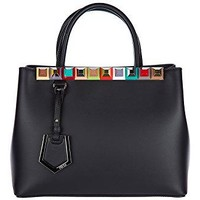 Fendi women's leather handbag shopping bag purse petite 2jours black