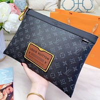 LV Fashion New Monogram Print Leather Handbag File Package Cosmetic Bag Black