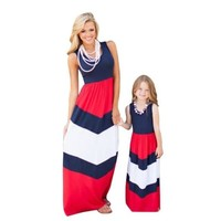 Patchwork Sleeveless Mom And Daughter Matching Dress