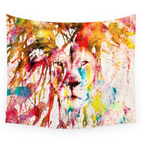 Society6 Wild Lion Sketch Abstract Watercolor Spl Wall Tapestry