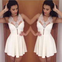 Homecoming Dress, Halter New A-Line Lace Short Prom Dress