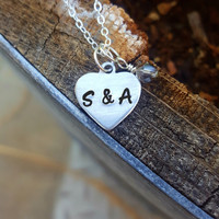Heart Initial Necklace, Couples Initial Necklace, Gift for Girlfriend or Anniversary Gift, Boyfriend Girlfriend Jewelry, Couples Necklace