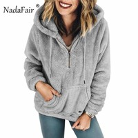 Faux Shearling Hooded Zip Casual Fleece Sweater