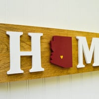 "Arizona State Sun Devils ""State Heart"" Home Sign - Handcrafted wood with official team colors"