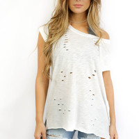 Up All Night Cap Sleeve High Low Top